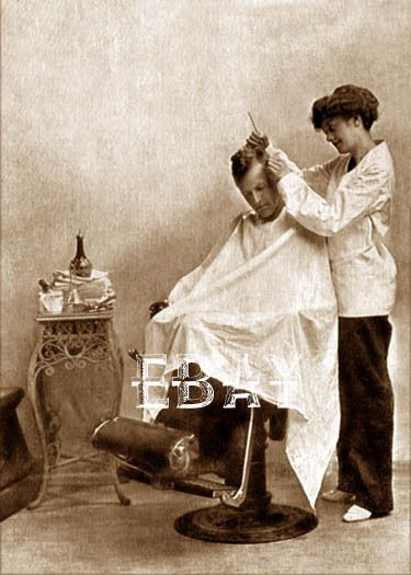 1900S WOMEN LADY FEMALE GIRL WOMAN BARBER SHOP VINAGE BARBERSHOP