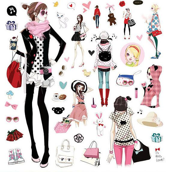 Sheets Of Lovely Girl Nail Art Stickers