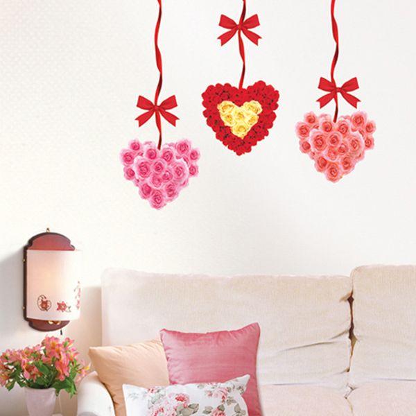 FLOWER HEART Home Art Decor Mural Paper Wall Stickers