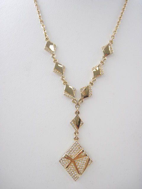SWAROVSKI Gold Tone Crystal Reversible Necklace