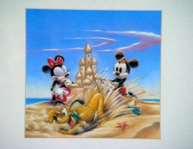 Framed Disney Mickey Minnie Pluto Sandcastle 20 X 20