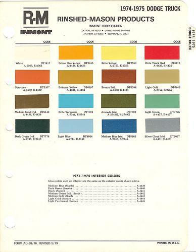 1974 & 1975 DODGE TRUCK PAINT CHIPS SHEET (R M)